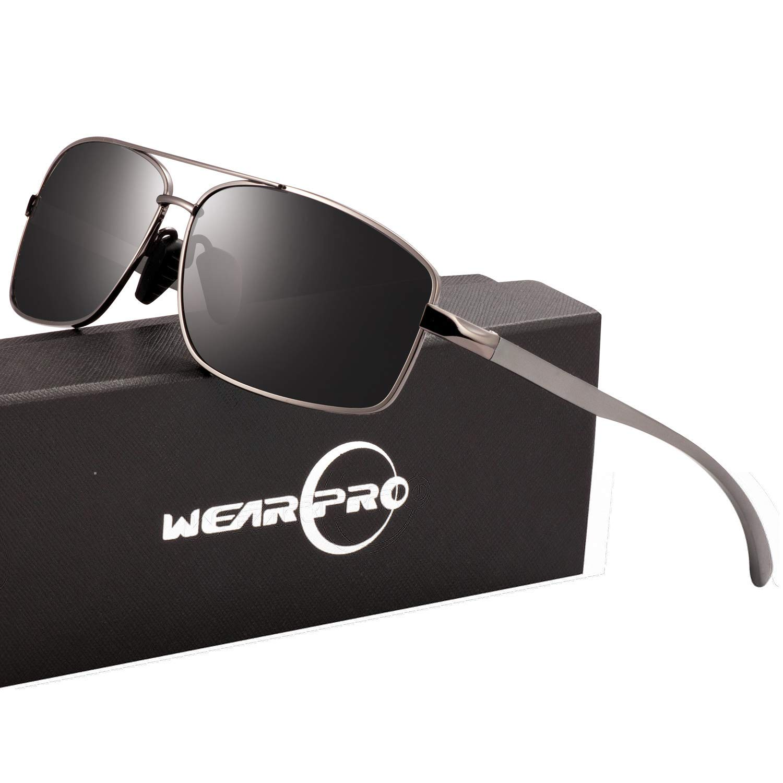 Sport Polarized Sunglasses For Men-wearPro Ultralight Rectangular Sunglasses Driving Fishing 100% UV Protection WP9006 (A Blackgun, 2.45) by wearpro