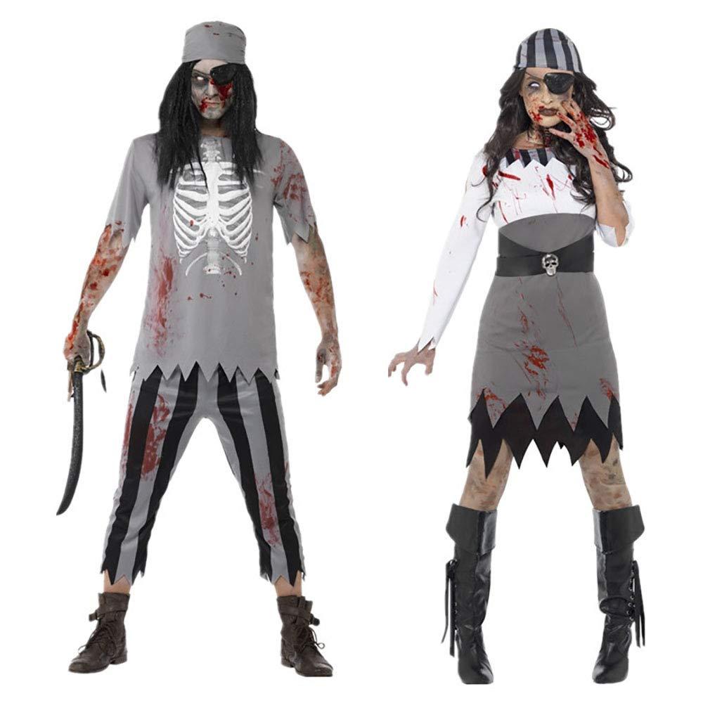 MIAO Costume di Halloween Adulto Cosplay Coppia Horror Costume da Zombie  Costume da Pirata dei Caraibi Costume da Zombie Costume da Demone Vampiro  Adatto Ai ... f306b9b55ef
