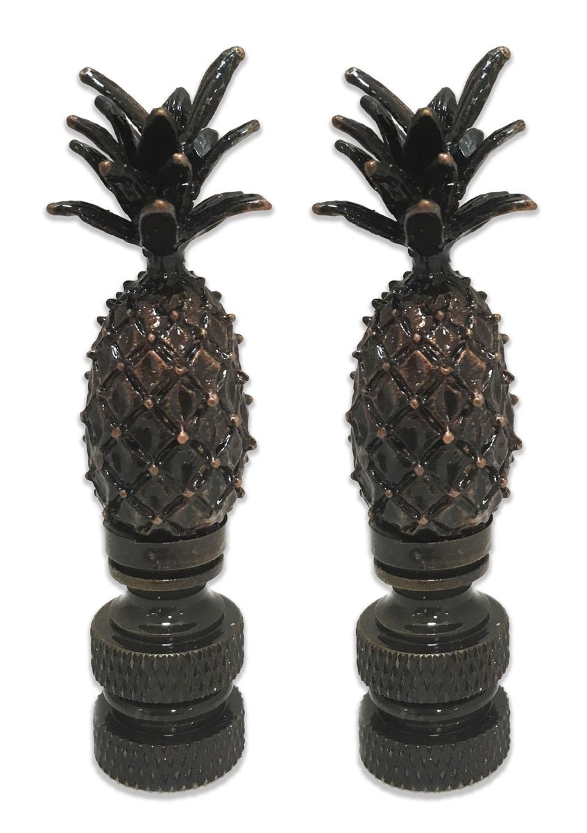 Royal Designs Vintage Pineapple Lamp Finial for Lamp Shade- Antique Brass Set of 2