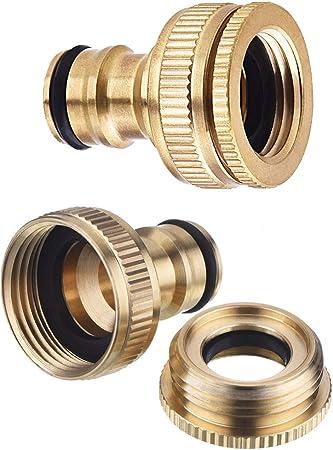 3//4-Zoll Messing-Schlauch-Adapter Messing 1//2-Zoll Hinmay Schlauch- Garten-Wasserhahn