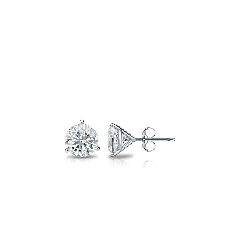 Diamond Wish 10k White Gold Round Diamond Stud Earrings (1/6 carat TW, Good, I2-I3) 3-Prong Martini, Push-Back