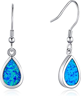 925 Sterling Silver and Blue Opal Hook Earrings Drop Dangle October Birthstone