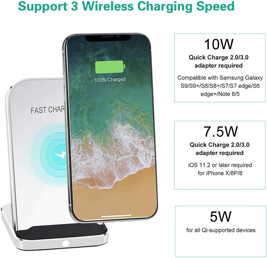 No AC Adapter// SEEGLOW Wireless Charger Qi-Certified 7.5W Wireless Charging Compatible with iPhone X MAX//XR//XS//X//8//8 Plus,10W Compatible Galaxy S10。Note 9//S9//S9 Plus//Note 8,5W All Qi-Enabled Phones