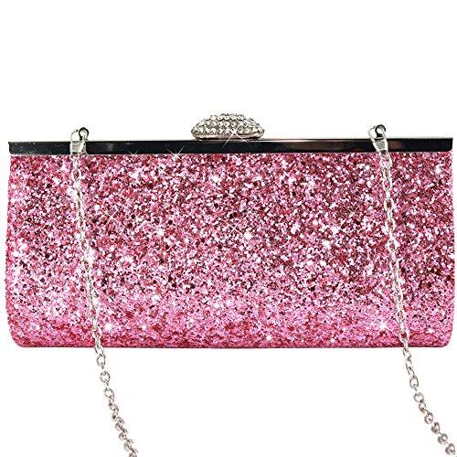 Purse Pink Silver Diamante Hard Prom Bag Ladies Clutch Evening Fashion Crystal Box Handbag Encrusted Case Bridal Wocharm Party Shimmering qtv4pwUw