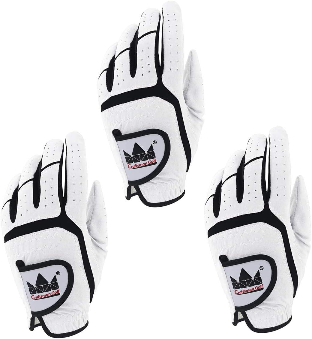 Craftsman Golf 3-Pack White Golf Gloves for Men Worn on Left Hand