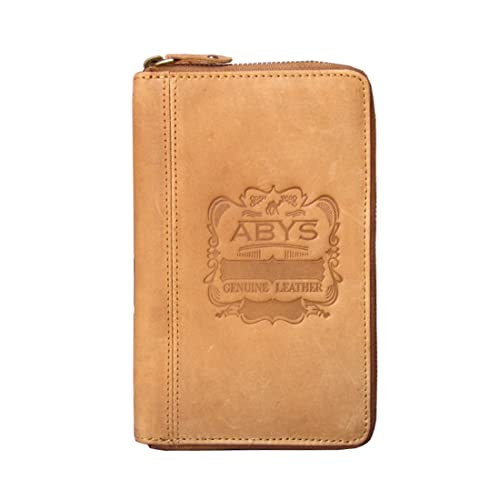ABYS Independence Day Special-Genuine Leather Tan Women Wallet||Passport Wallet||Mobile Cover||Business Card Case with Metallic Zip Closure