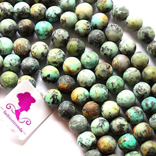 African Turquoise Gem (Fashiontrenda Natural Unpolished Matte African Turquoise Round Gemstones Beads for DIY Jewelry Making (8mm))