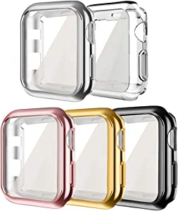 [5 Pack] Compatible for Apple iWatch Case 38mm, hd Clear Ultra-Thin Screen Protector TPU All-Around Full Front Protective Case Cover Compatible for Apple Watch Series 3 Series 2 (5Pack, 38mm)