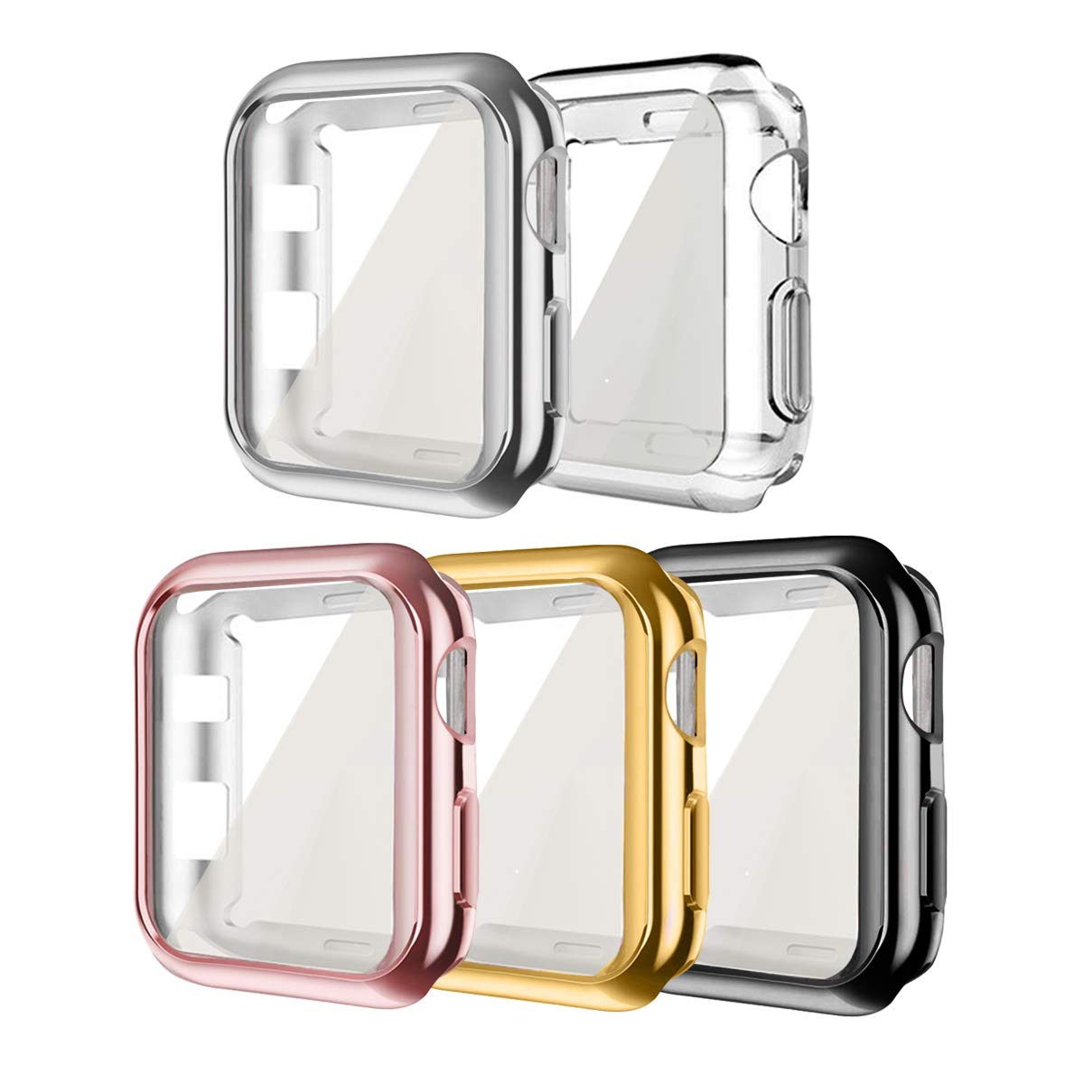 Compatible for Apple iWatch Case 38mm, 5 Pack hd Clear Ultra-Thin Screen Protector TPU All-Around Full Front Protective Case Cover Compatible for Apple Watch Series 3 Series 2 (5Pack, 38mm)