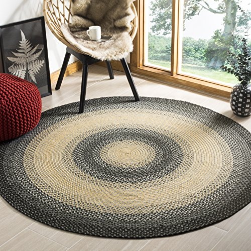 (Safavieh Braided Collection BRD311A Hand Woven Black and Grey Round Area Rug (8' Diameter))