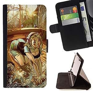 BullDog Case - FOR/HTC One M9 / - / sexy drawing girl butt house maid chick /- Monedero de cuero de la PU Llevar cubierta de la caja con el ID Credit Card Slots Flip funda de cuer