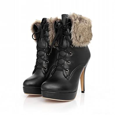 33b33aa8f2bd Women s High-Top Lace-Up Frosted Kitten-Heels Round Closed Toe Snow ...