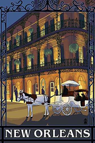 - New Orleans, Louisiana - French Quarter (12x18 Art Print, Wall Decor Travel Poster)