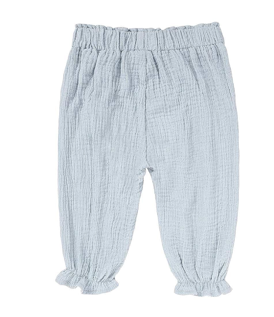 Hajotrawa Boy Girl Lantern Pants Casual Jogger Pleated Elastic Waist Pants