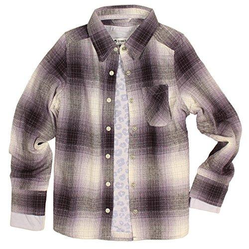 Violet Plaid Shirt - Tractr Girls Two-Piece Layering Shirt Set (Violet Shimmer/Leopard, Medium)