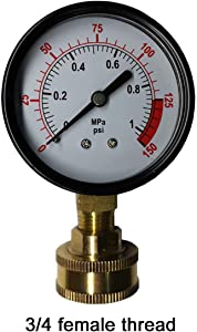 "YZM Single Scale Pressure Gauge with Brass Internals, 2-1/2"" Dial Display, Bottom Mount,Oil Filled Pressure Gauge,Water Pressure Gauge. (Black)"