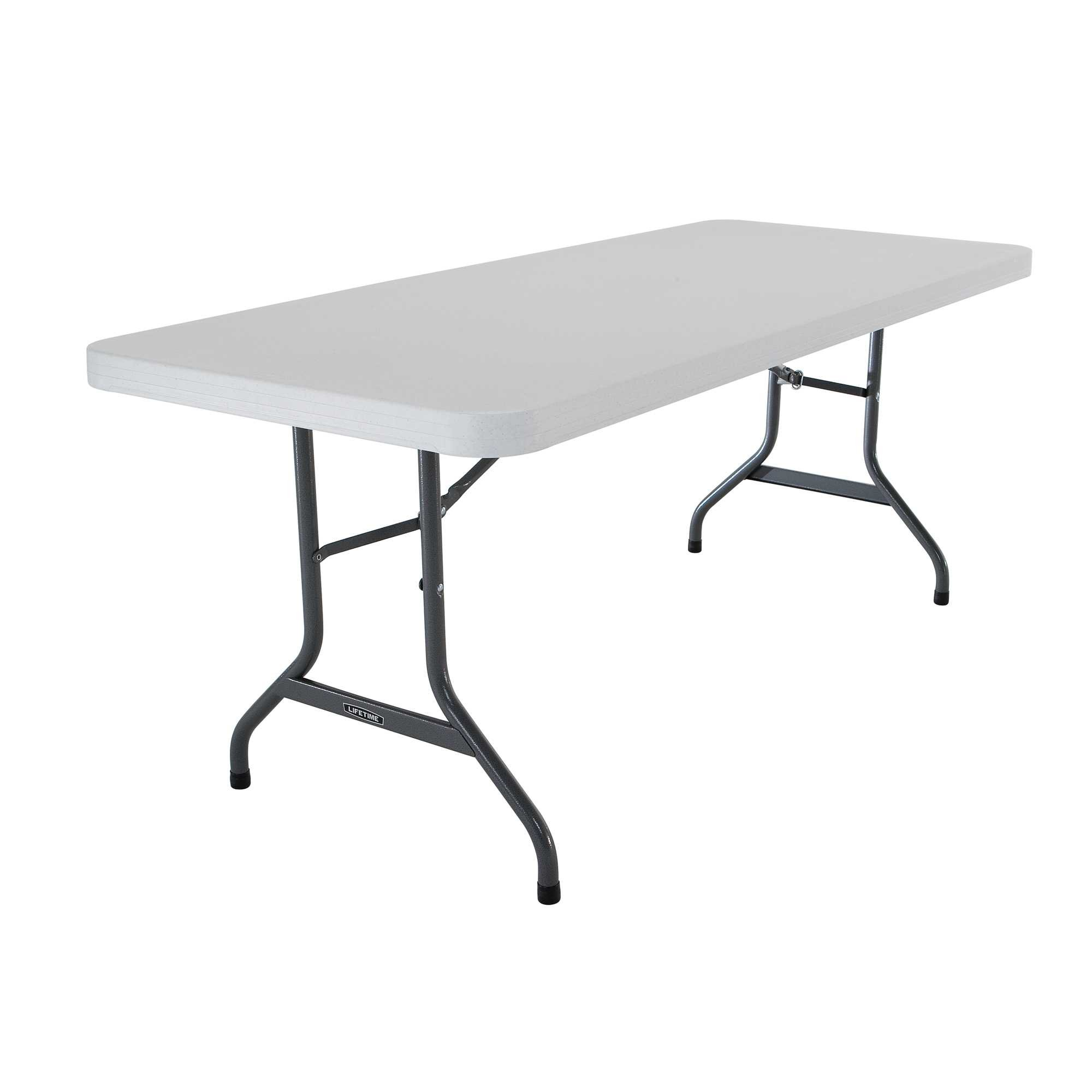 Lifetime 22901 Folding Utility Table, 6 Feet, White Granite