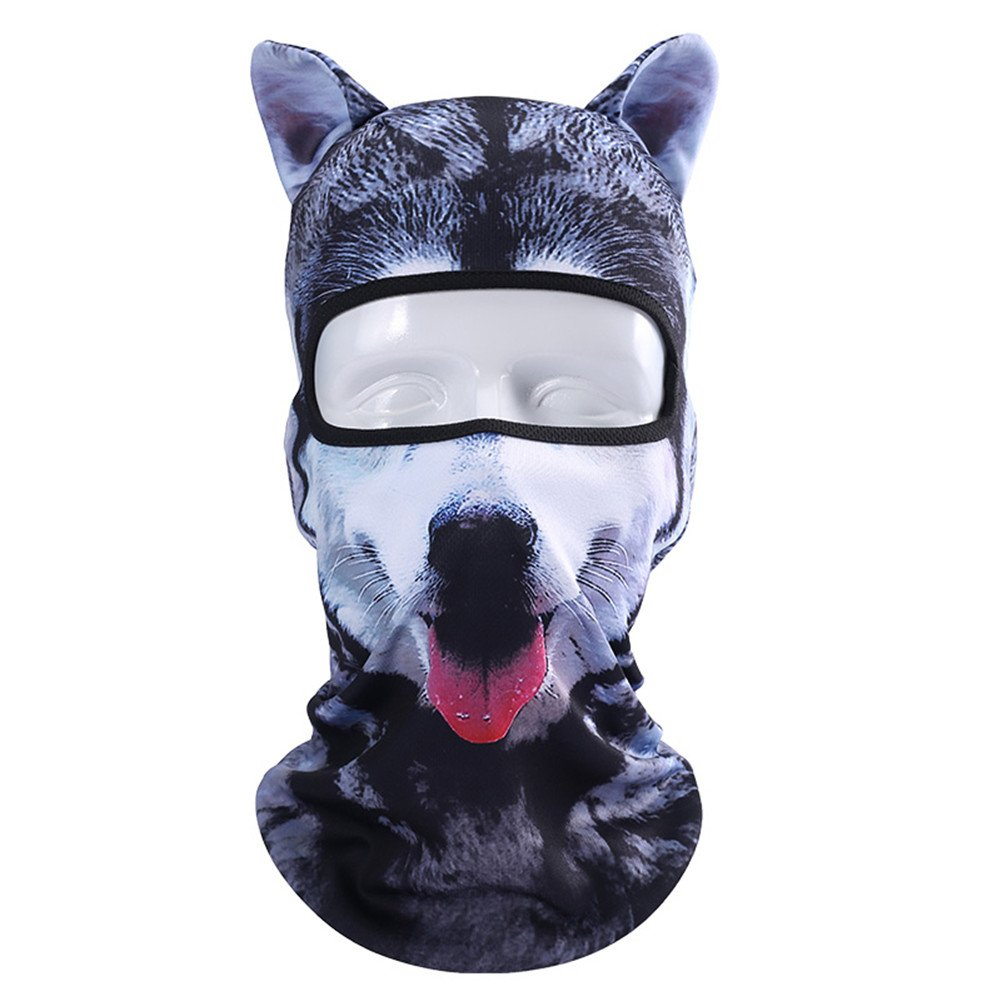 Runtlly Unisex Animal Face Ears 3D Print Winter Ski Balaclava Halloween Party