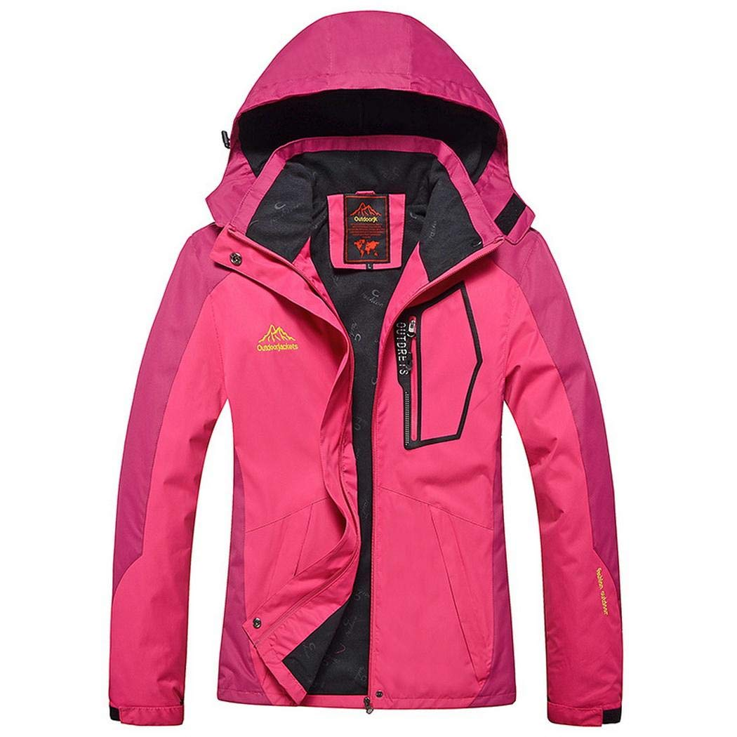 Jinymo Women Casual Patchwork Mountain Waterproof Ski Jacket Hooded Windproof Coat Climbing Jackets