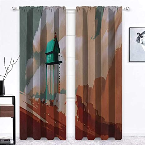 Living Room Curtain Sliding Panel Curtains Blinds Little Wood House On Stone Hill With Robot On The Cloudy Roof Calming Artwork Print For Bedroom Kitchen 2 Rod Pocket Panels 52