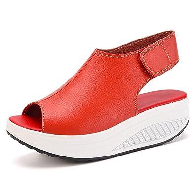 DAFENP Sandali con Zeppa Donna Pelle Scarpe Comfort Peep Toe Camminare  Piattaforma 21c2ffd187c