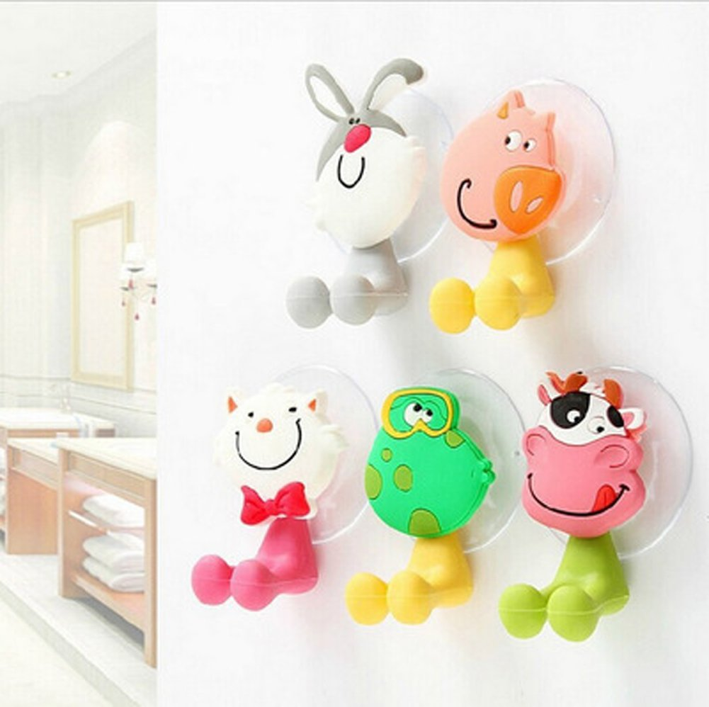 Alasida Bath Toy Organizer Set, 2 Mesh Bath Toy Storage Bag, 4 Strong Suction Cups Hook, 5 Cartoon Animal Toothbrush Holders by Alasida (Image #9)