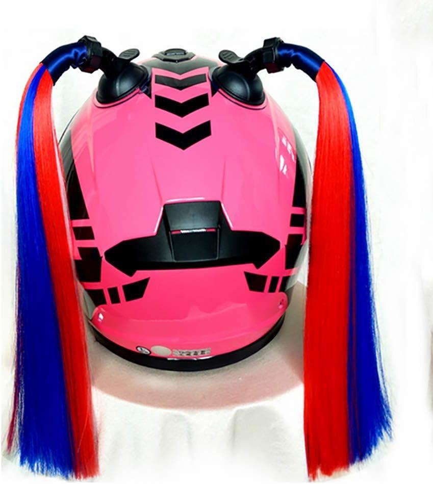 JINGBO Personalidad Cool Casco Trenzas Cola de Caballo para Casco de Motocicleta con Ventosa Trenzas rizadas Rampa Degradada para J/óvenes Ni/ñas Mujeres Hombres