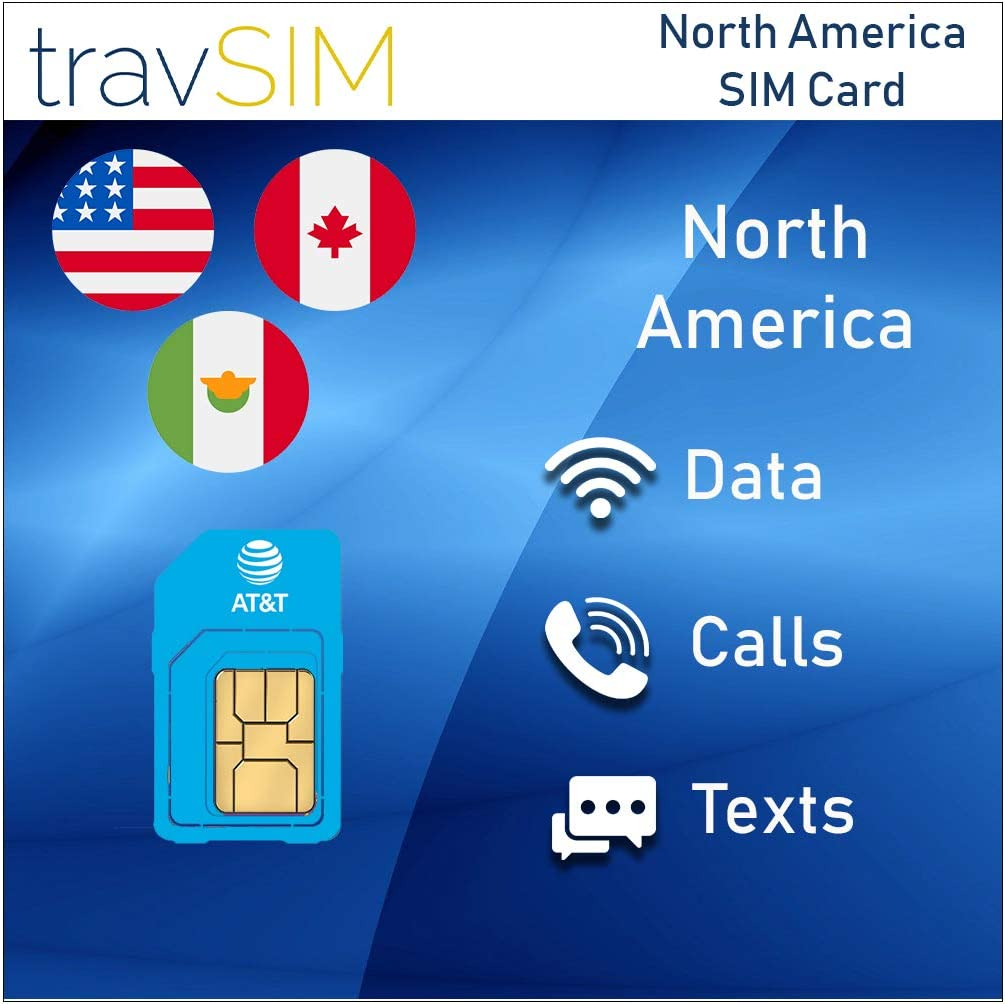 Local Voice Calls /& Text Messages Valid For 10 Days travSIM AT/&T Prepaid North America SIM Card UNLIMITED* 4G LTE Data United States, Canada /& Mexico