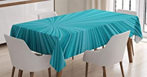 Ambesonne Teal Decor Tablecloth, Abstract Vortex Design Fireworks Celebration Stylized Monochrome Illustration, Dining Room Kitchen Rectangular Table Cover, 60