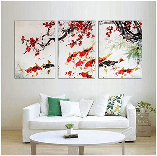 Cherry Blossom Koi Fish Spring 3 pcs HD Art Poster Wall  Home Decor Canvas Print