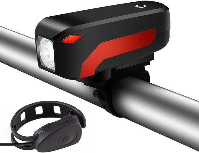 Fangteke Lumi/ère de klaxon de v/élo,Eclairage Avant pour Velo Rechargeable USB,Feu Avant de S/écurit/é LED V/élo,Lampe Avant avec Corne,Lampe de Poche Lampes