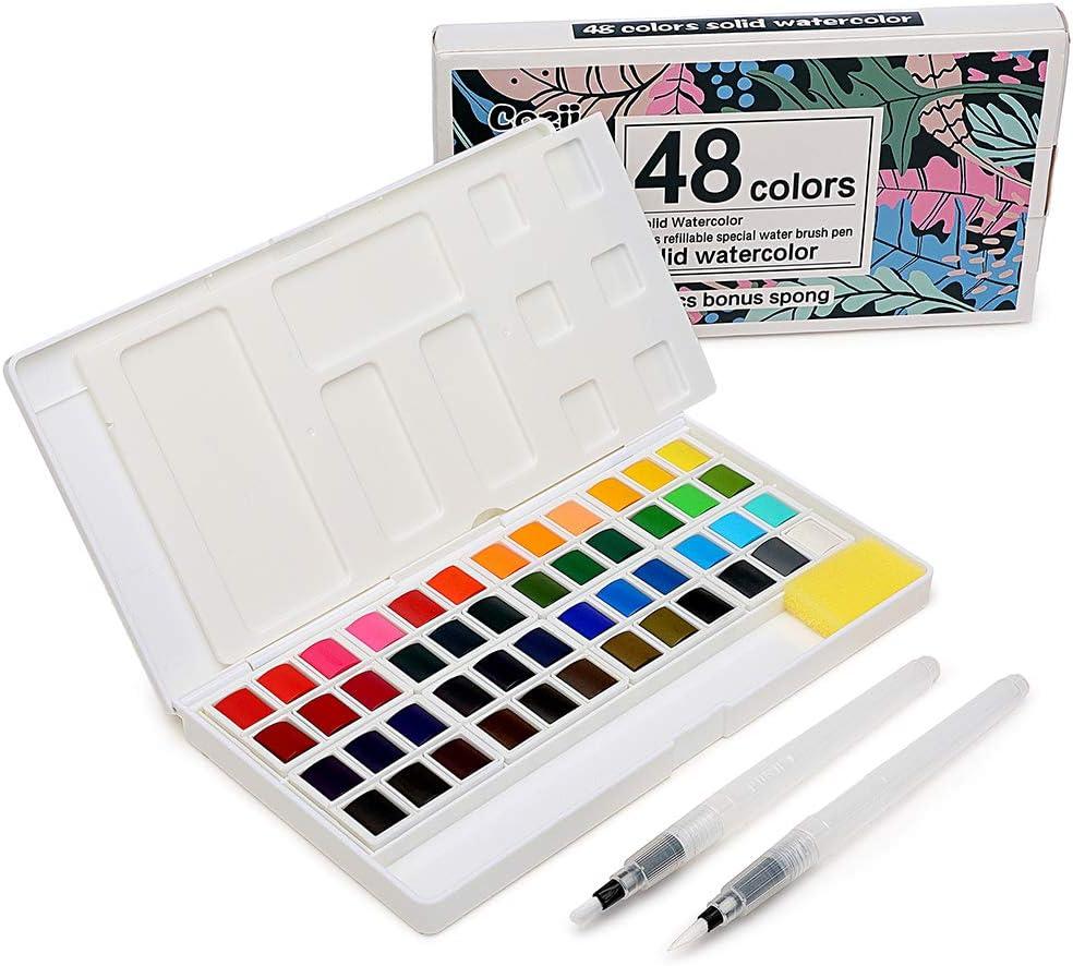 48 Watercolor Paints Set, Art Supplies Portable Watercolor Paint Kit - 2 Refillable Special Water Brush Pens, Sponge and Watercolor Palette