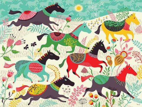Oopsy Daisy Murals - Oopsy Daisy Murals That Stick Wild Horses by Helen Dardik, 72 by 54-Inch