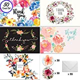 [50] 4x6 Floral Thank You Cards, w/Envelopes and Stickers, for Weddings, Baby and Bridal Showers, Parties, Engagements, Anniversary, and Business - Watercolor Note Card Bulk Set (BLANK INSIDE)