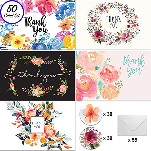[50] 4x6 Floral Thank You Cards, w/Envelopes and Stickers, for Weddings, Baby and Bridal Showers, Parties, Engagements, Anniversary, and Business - Watercolor Note Card Bulk Set (BLANK INSIDE) by ONWEGO