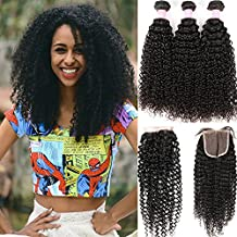 """Miss GAGA 7A Grade Peruvian Kinky Curly 3 Bundles with Closure Free Part Unprocessed Virgin Hair with 4""""4"""" Lace Closure Natural Color (14 16 18+12)"""