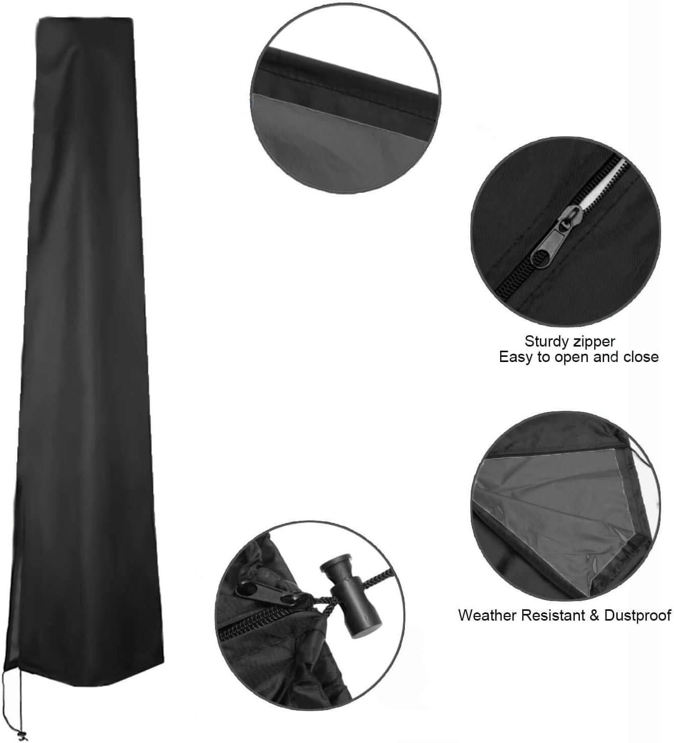 gris Cubierta de sombrilla para sombrilla de patio 153 x 30 x 30 cm impermeable resistente al desgarro 600D Oxford revestimiento de PVC