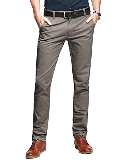2722bd1b Match Mens Slim Tapered Flat Front Casual Pants