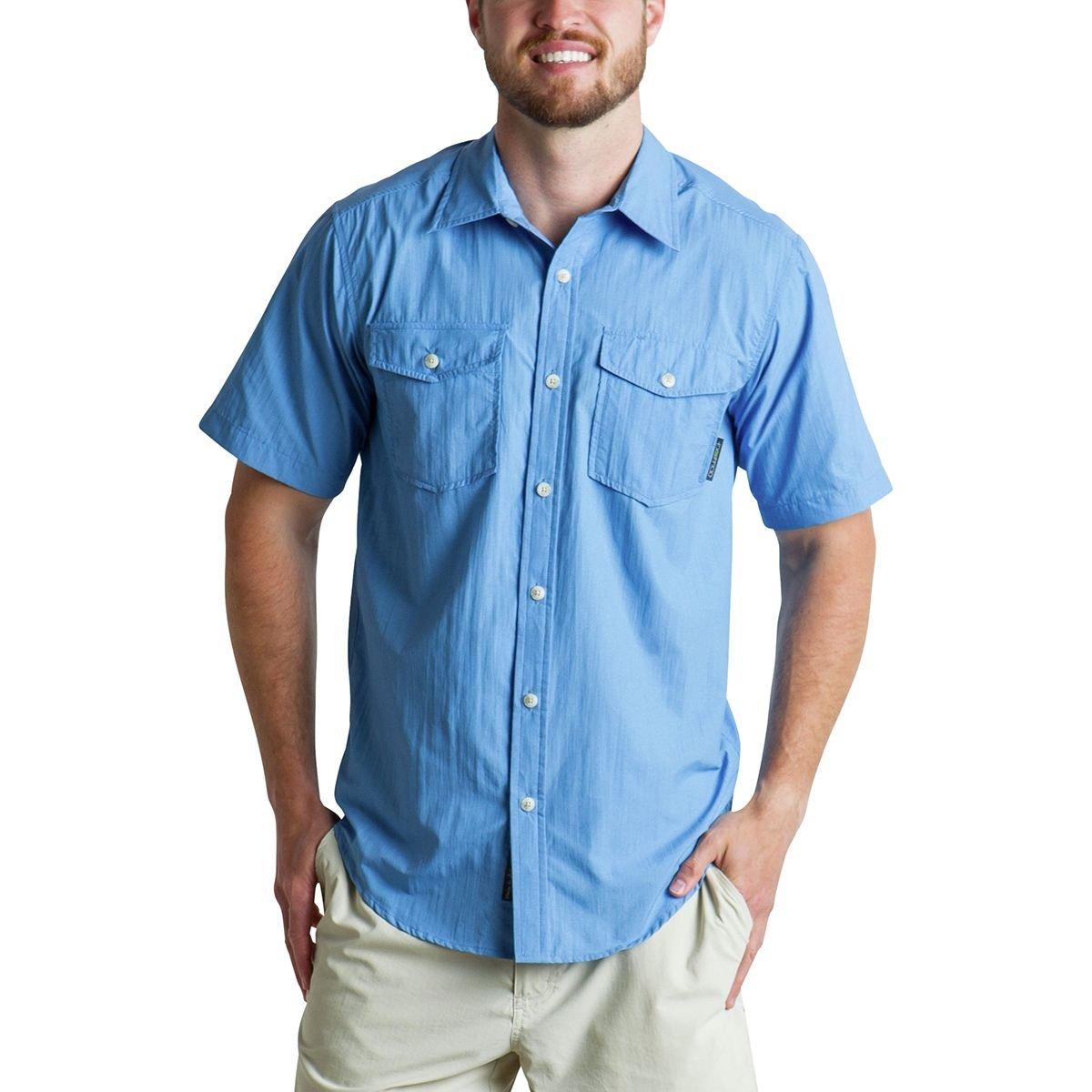 ExOfficio Men's Syros Breathable Short-Sleeve Shirt, Silverlake, Small