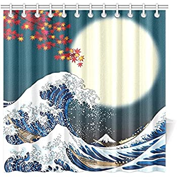 InterestPrint Ocean Wave Decor For Bathroom Full Moon Two Boats With The Great Off Kanagawa Vintage Japanese Art Polyester Fabric Shower