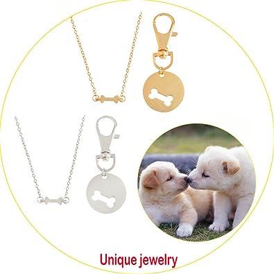 Amazon 4eaelove 2pcsset gold silver color dog bone best 4eaelove 2pcsset gold silver color dog bone best friends charm necklace keychain bff bones aloadofball Images