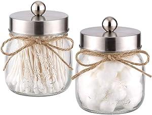 Elwiya 2-Pack Mason Jar Qtip Holder Premium Glass with Stainless Steel Lid, Rustic Mason Jar Cotton Ball/Swabs/Rounds Holder Farmhouse, Mason Jar Decor Bathroom Vanity Storage Organizer - Silver
