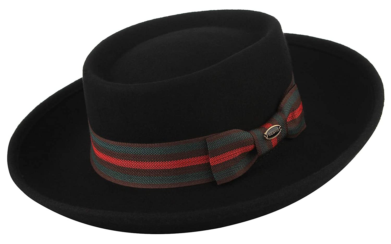 GEMVIE Men 100/% Wool Hat Dress Fedora Hats Boater Hat Flat Top Hat Party Church Derby Trilby Hats