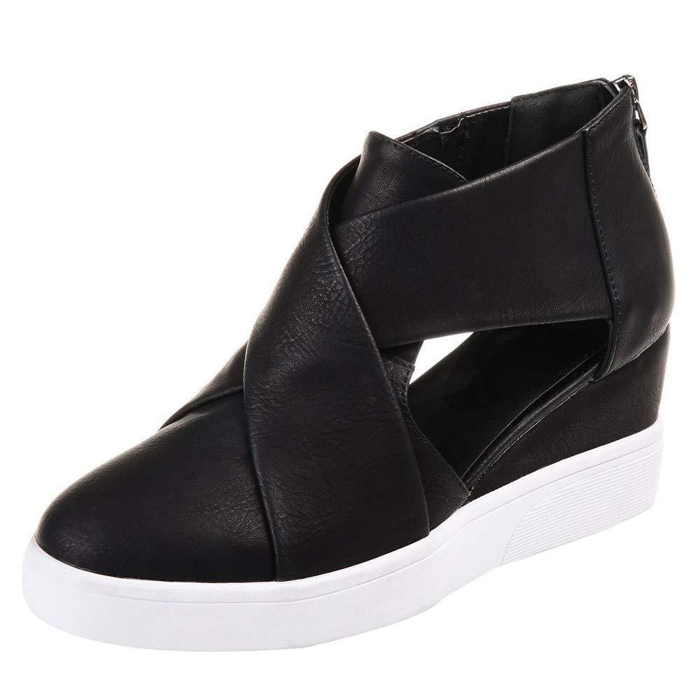 Kauneus  Women's Concise Criss-Cross Cut-Out Wedge Sneakers Comfortable Back Zipper Shoes Black by Kauneus Fashion Shoes (Image #1)
