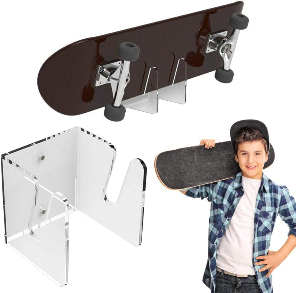 Skateboard Wall Hanger Display Rack Acrylic Skateboard Mounts Deck Wall Hanging Brackets Easy to Install Wall Rack Mount Stand Holder for Storing Snowboard