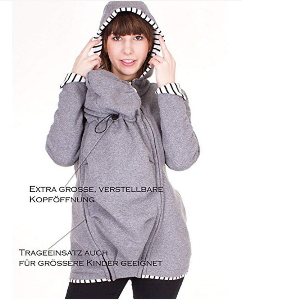 Kangaroo Porte-bébé Pull Sweatshirt Sweat à Capuche Manteau Veste Polaire Vêtement Hoodies Hiver Maternité Amovible Multifonction Noir L