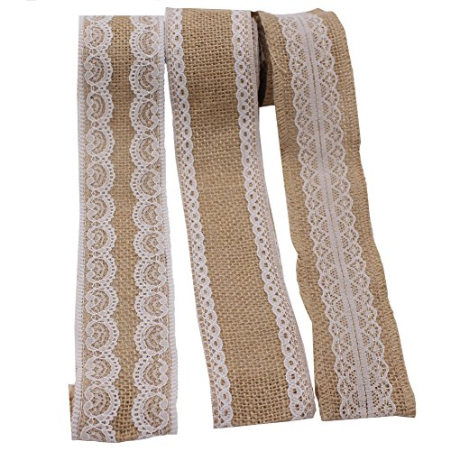 LAOZHOU 3 Pack of Natural Burlap Craft Ribbon Roll with White Lace 78.7inch,DIY Handmade Christmas Wedding Crafts Lace Linen (3 Pack) - La Linen Burlap Ribbon