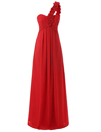 Sarahbridal Women Long Chiffon Prom Dress Elegant Wedding Party Formal Ball Gowns One Shoulder with Flower