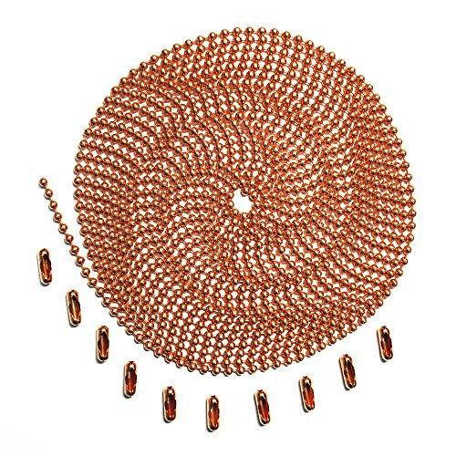 10 Foot Length Ball Chain, Number 3 Size, Copper, with 10 Matching Connectors
