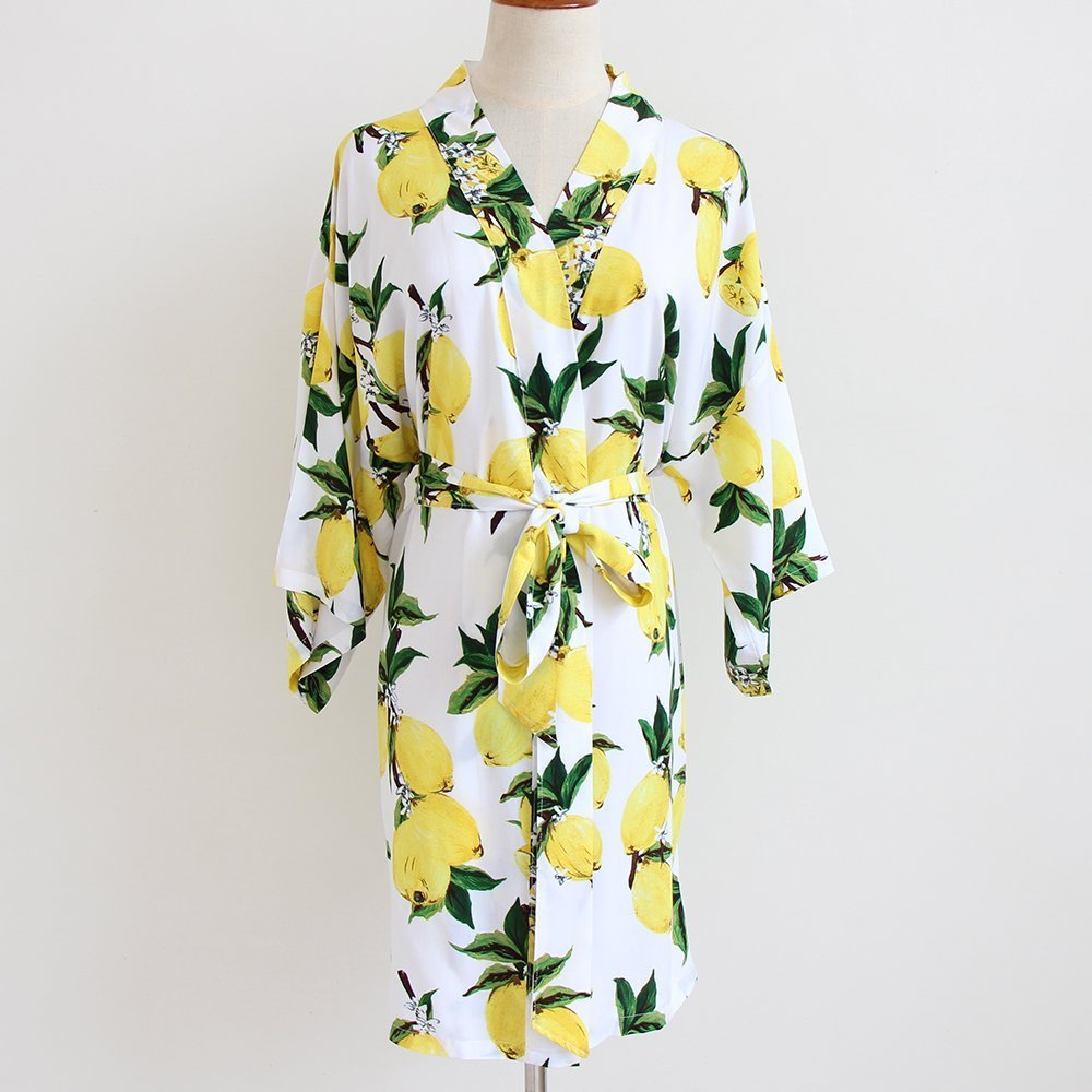 Yellow Lemon Floral Women Kimono Robe-Bridesmaid Kimono Robe-bridesmaid Gift-Wedding Party Robes Bridal Party Gift